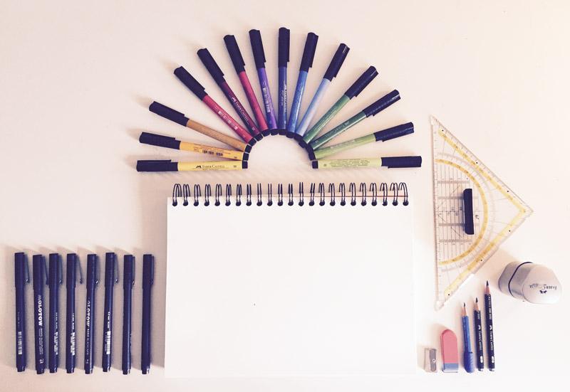 zeichnen lernen im doodle stil tag 1 materialien. Black Bedroom Furniture Sets. Home Design Ideas