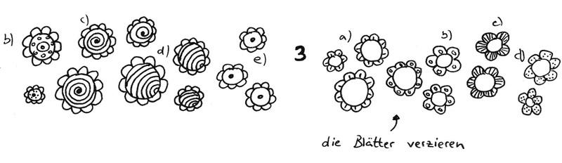 aus einer grundform ber 40 einfache blumen zeichnen zeichnen lernen im doodle stil tag 4. Black Bedroom Furniture Sets. Home Design Ideas