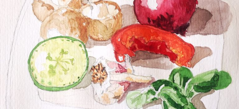 Paint your lunch! als Übung fürs Aquarell malen Lernen