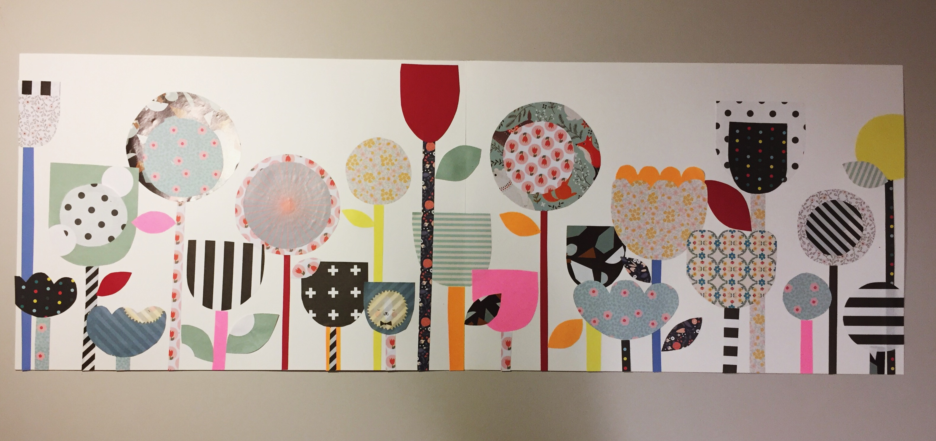 collage basteln mit mustern farben und formen experimentieren um eine blumenlandschaft zu. Black Bedroom Furniture Sets. Home Design Ideas
