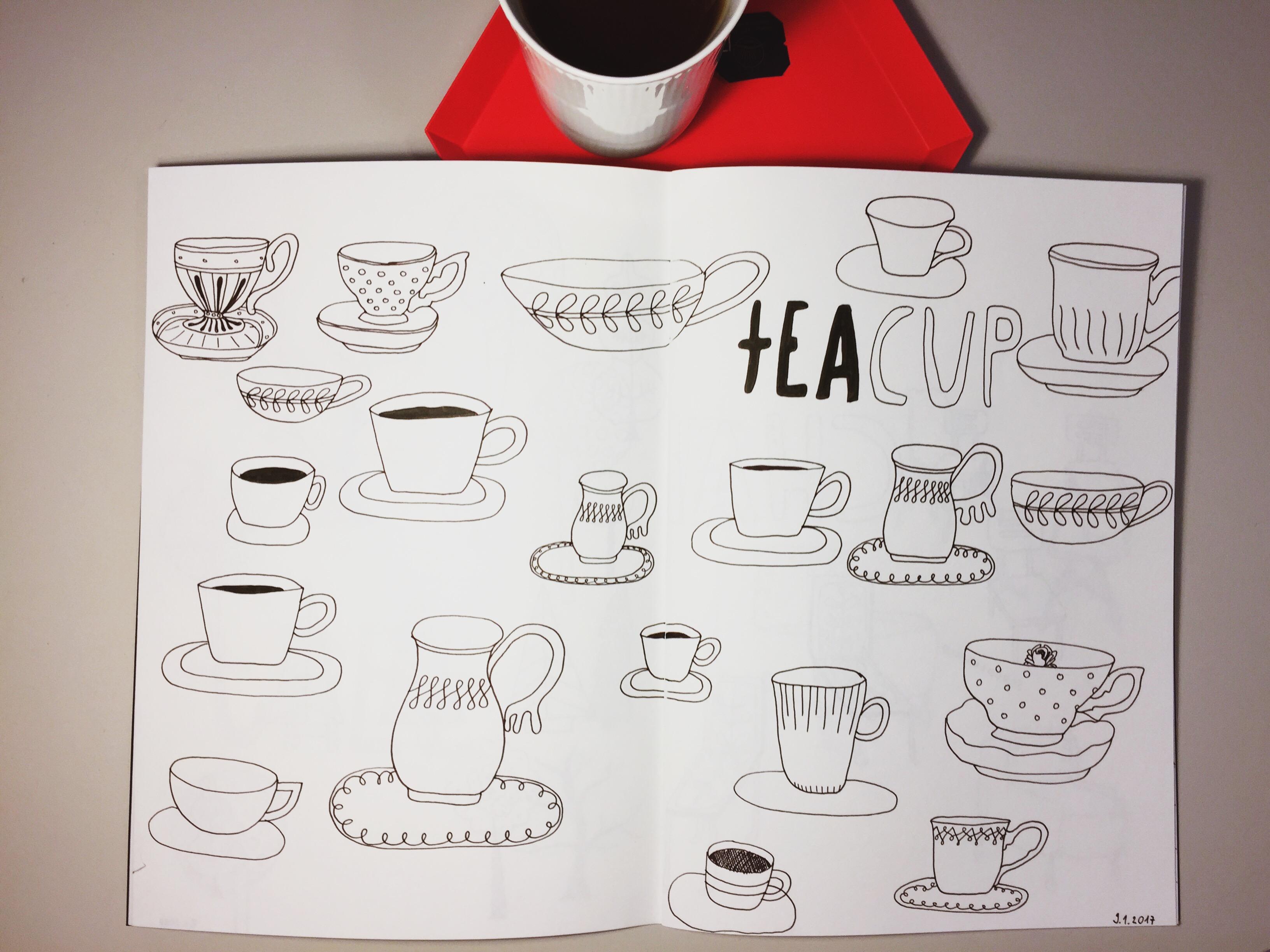 Zeichnen lernen im Doodle Stil   Eine einfache Teetasse in vier Schritten… und noch ganz viele mehr
