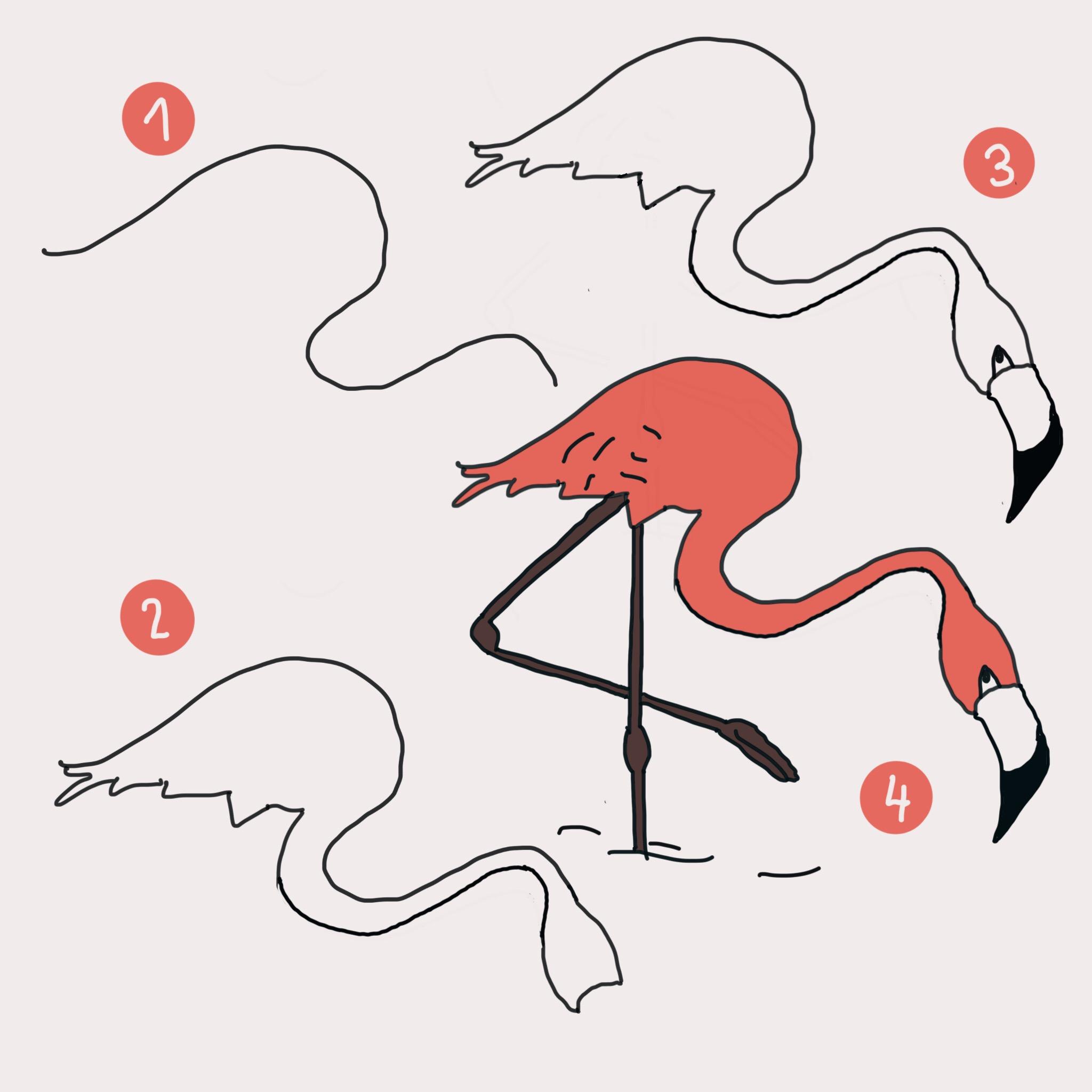 7 flamingos zeichnen schritt f r schritt auch f r kinder. Black Bedroom Furniture Sets. Home Design Ideas