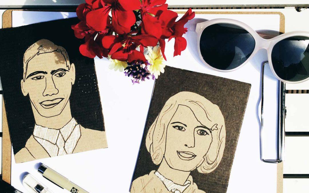Retro Portrait Karten zeichnen und ein bisschen 1969 Feeling