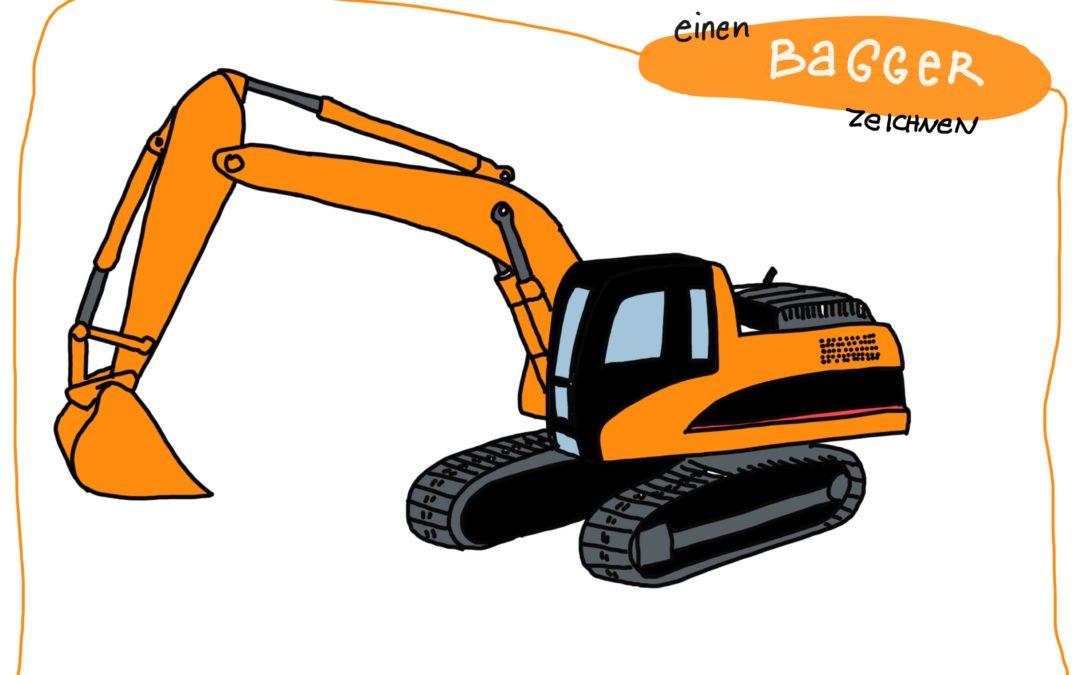 Wie man einen Bagger zeichnen kann | Fahrzeughits der Kids - Creatipster