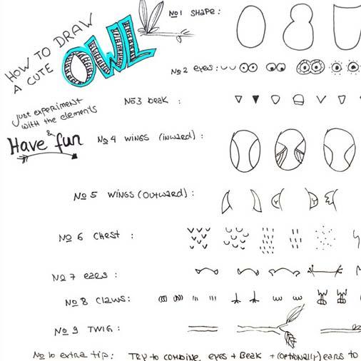 Zeichnen lernen im doodle stil in lustigen kleinen - Eulen gestalten ...