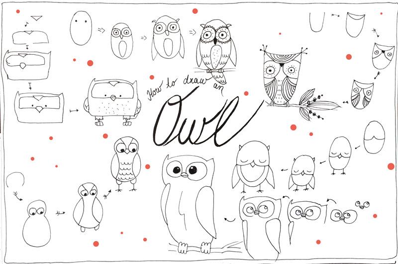 In 10 Minuten 6 niedliche Eulen zeichnen – nur so zum Spaß