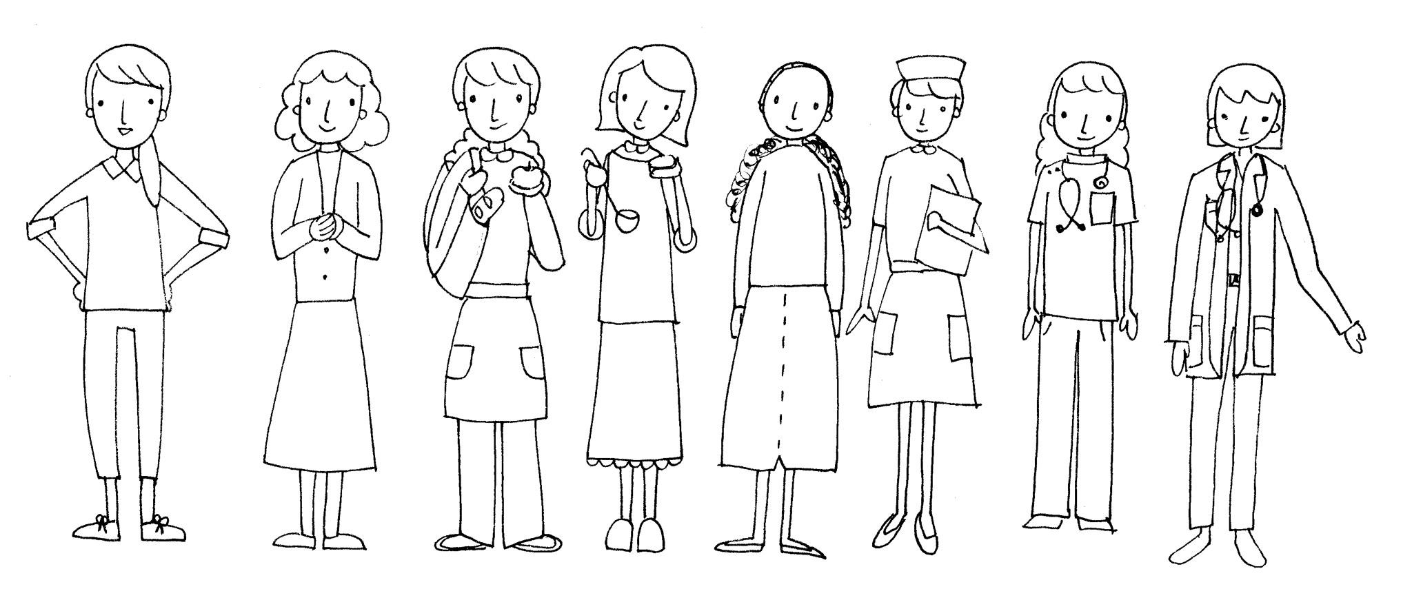 Erwachsene-Frauen-zeichnen
