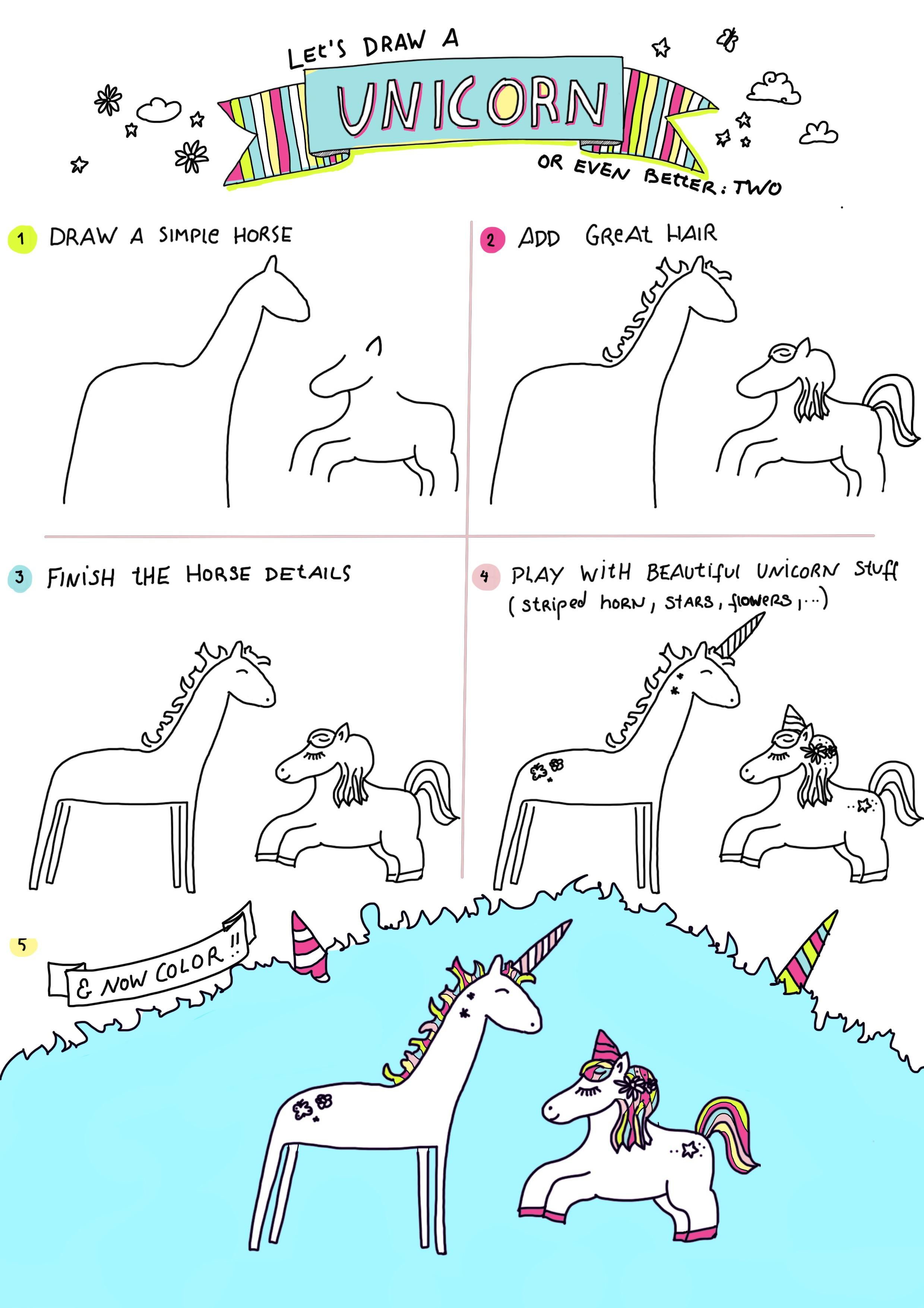 Einhorn Zeichnen 6 Süße Einhörner Step By Step Zeichnen Uiii