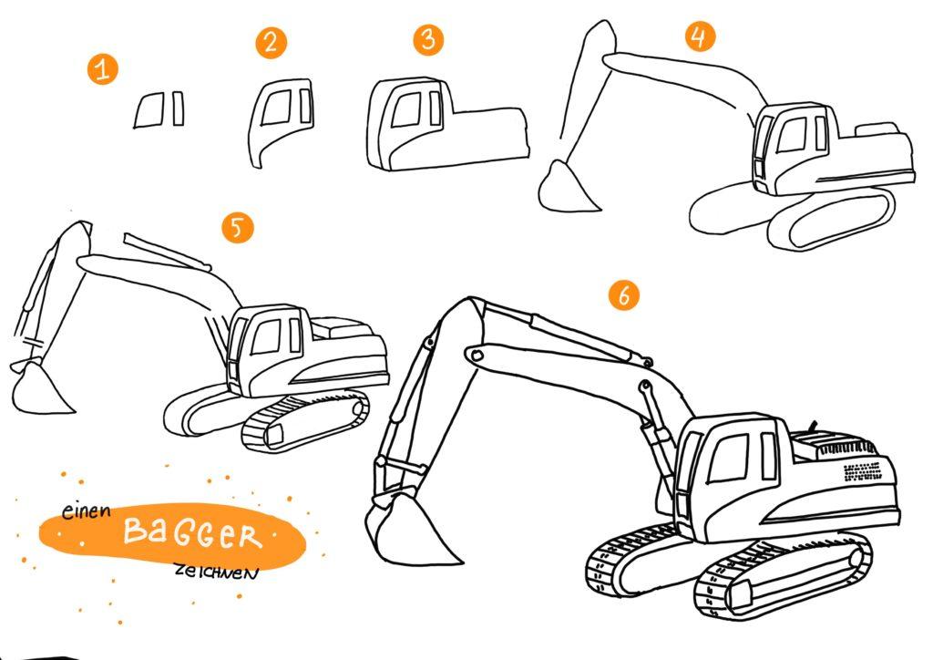 Bagger-zeichnen-Schritt-fuer-Schritt - Creatipster