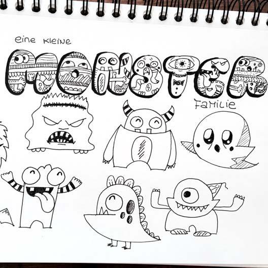 Zeichnen Lernen Im Doodle Stil In Lustigen Kleinen übungen